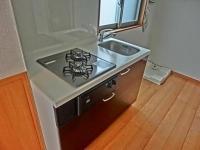 2口ガスコンロ・グリル付キッチン、洗濯置場